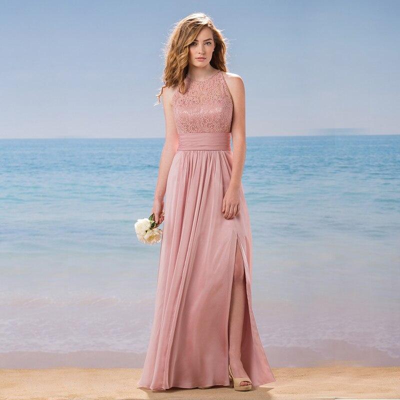 Nude Pink largo de dama de honor vestidos de cuello redondo de ...