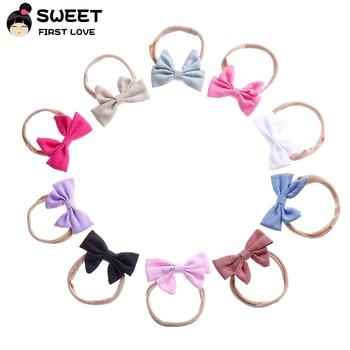 5pcs/lot Newborn kids Bow Nylon Headbands Soft Cotton Linen Fabric Bowknot Headwear Elastic Headband Girls Hair Accessories