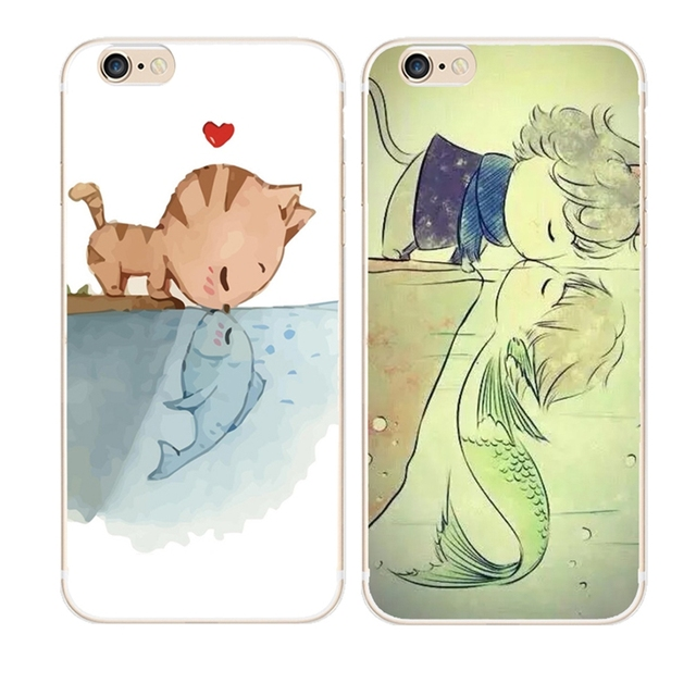 bd7799daa5f7 Soft TPU Cute Painted Cat Kissing fish Mobile Phone Case For iPhone X SE 5  5S 5C 6 6S 7 8 Plus Transparent Silicone Back Cover