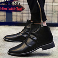 LIN KING Low Heel Boots Men High Top Pointed Toe Ankle Boots British Style Spring/Autumn Leather Shoes Vintage Leisure Boots