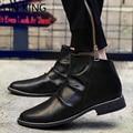 LIN REY de Tacón Bajo Botas de Los Hombres de Alta Superior Botines Dedo Del Pie Acentuado Estilo Británico de Primavera/Otoño Zapatos de Cuero de La Vendimia Botas de ocio