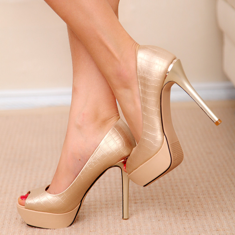 ФОТО Super high 12cm heeled pumps shoes woman black gold sexy peep toes superstar style female ladies summer TG1376 party shoe