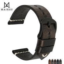 MAIKES 2019 Latest Designs 20mm 22mm 24mm Black Genuine Leat