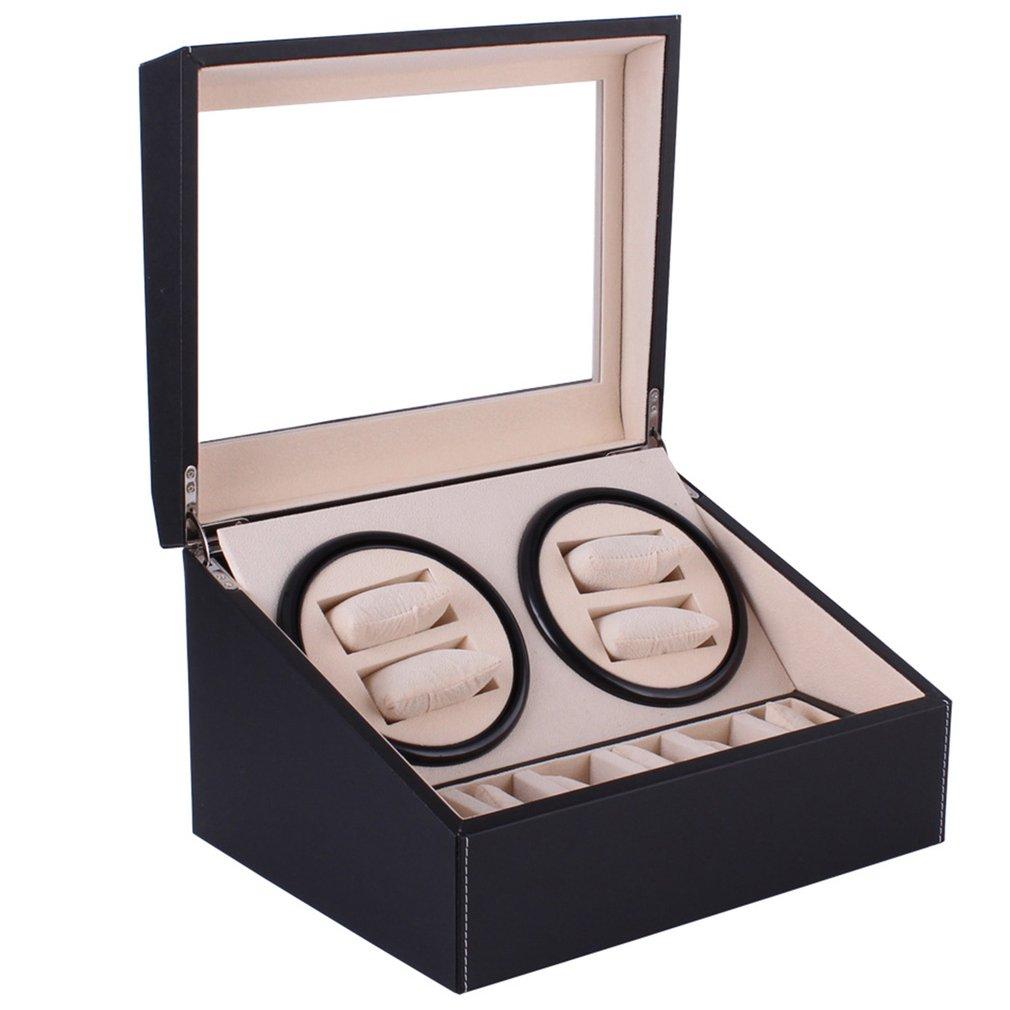US plug Automatic Mechanical Watch Winders Black PU Leather Storage Box Collection Watch Display Jewelry Winder Box | Fotoflaco.net