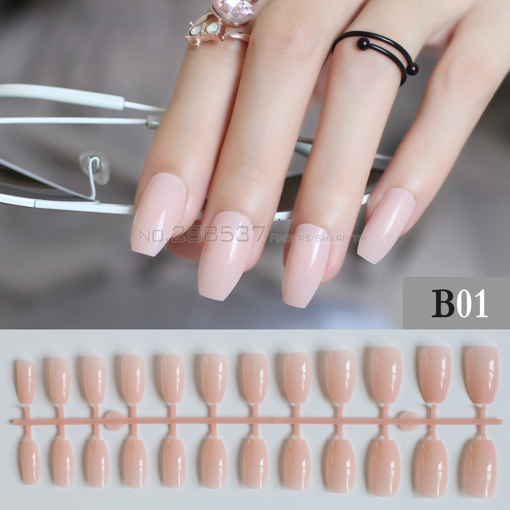 Pure colour New Ballerina False nails Designs light Pink ...