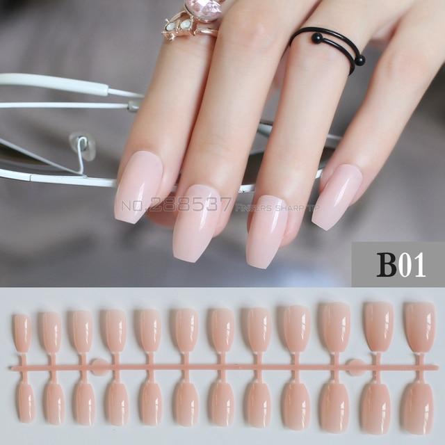 Reine Farbe New Ballerina Falsche Nägel Designs Rosa Mode Nude Farbe Nagel Wohnung  Tipps Dekorieren Sarg