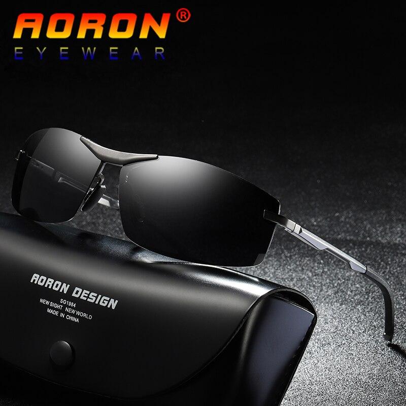 AORON Brand Men's Vintage Square Sunglasses Polarized Photochromic Eyewear for Sports Outdoor Driving Sun Glasses For Men A557