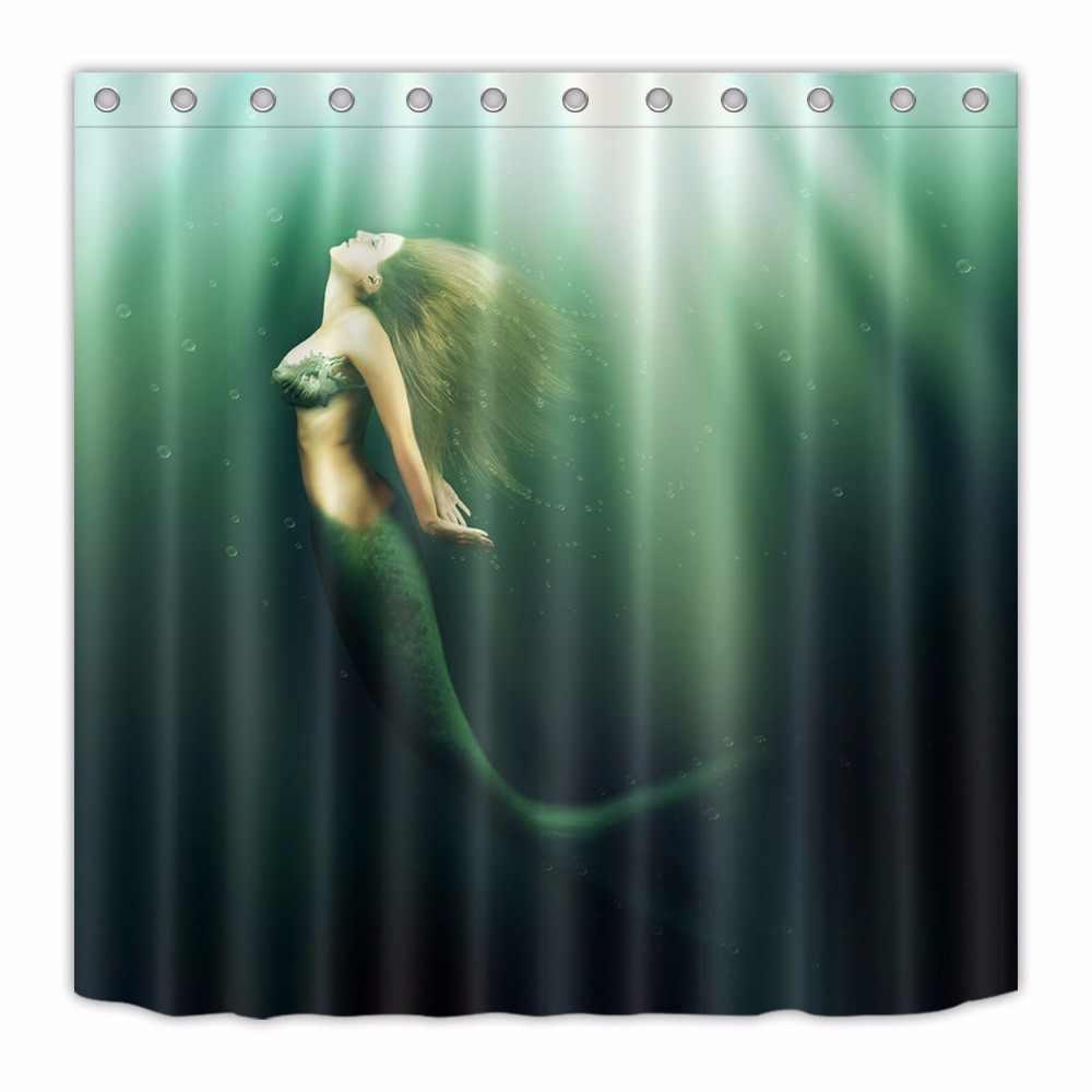 72 ''ใต้น้ำทะเลรุ่นหญิงเงือกผ้าห้องอาบน้ำผ้าม่านโพลีเอสเตอร์กันน้ำชุด 12 ตะขอ