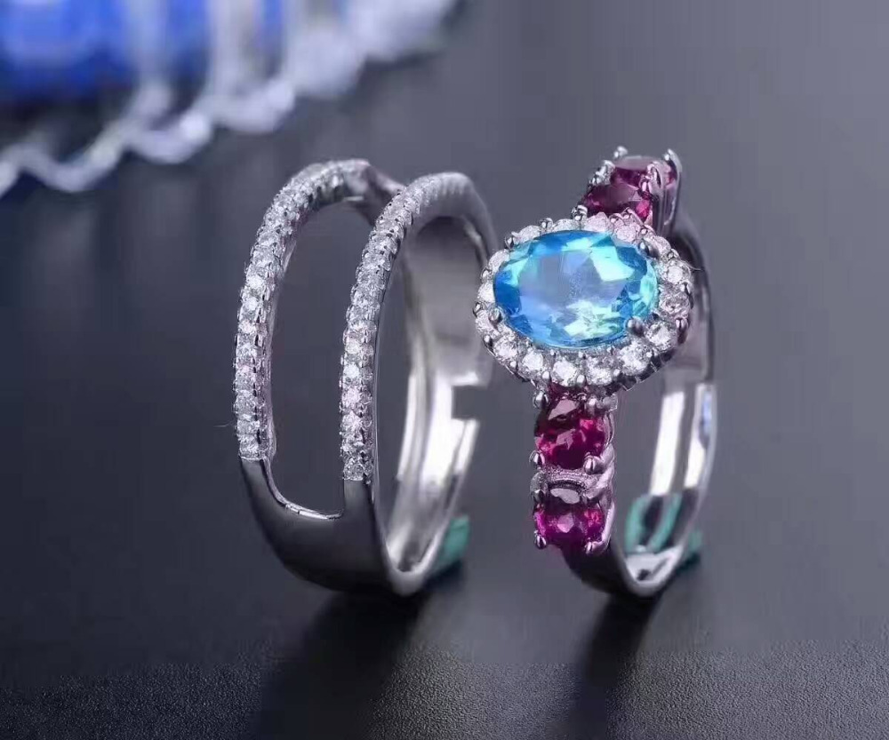 Natural blue topaz gem Ring Natural red garnet ring 925 sterling silver personality Two wear separate women girl party JewelryNatural blue topaz gem Ring Natural red garnet ring 925 sterling silver personality Two wear separate women girl party Jewelry
