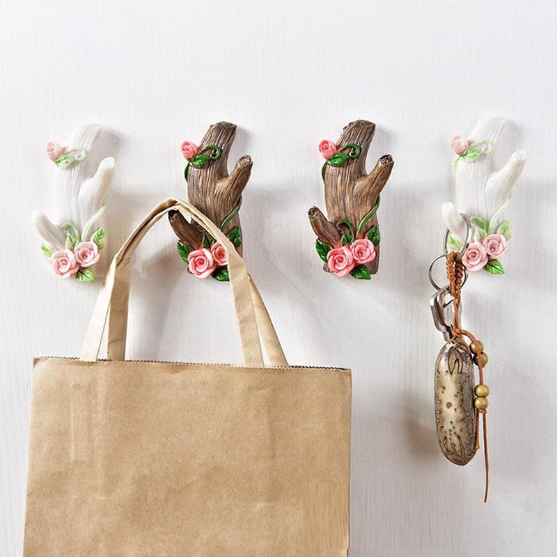 Imitation Tree Branch Shape Resin Storage Hook Vintage Wall Decor Jewelry Key Clothes Organize Hanging Holder Bathroom Rack