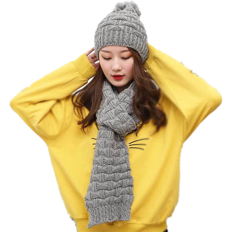 Winter Warm Knitted Hat And Scarf For Women Set Cap And Scarf Winter Hat And Scarf For Girls Knit Scarves Winter Knitted Cap Set