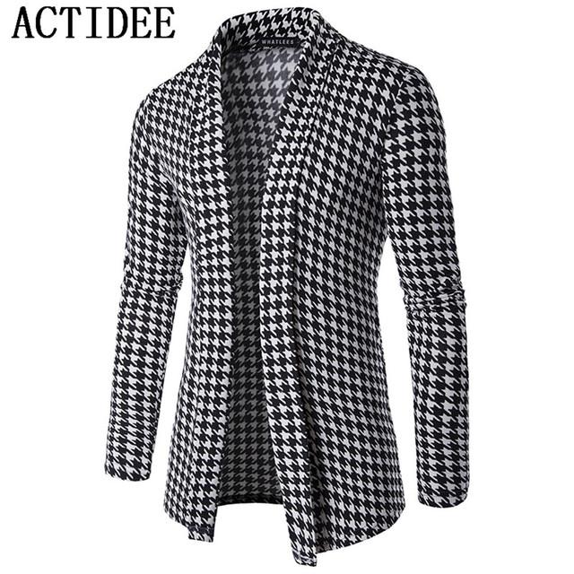 Nova Marca ACTIDEE 2017 Nova Primavera Outono Mens Moda Blusas de Malha de Algodão Cardigan Malhas do Homem Roupas Sweatercoats