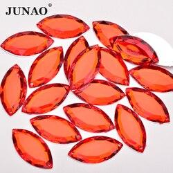 JUNAO 20*40mm 17*32mm Big Size Sewing Red Horse Eye Rhinestone Applique Flatback Acrylic Strass Diamond Sew On Crystal Stones