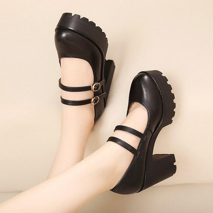 Plate Qiannml Avec Chaussure Femmes Noir Chaussures Hauts Véritable Travail 2019 De Neuf Double forme En Cm Talons Pompes 10 Flambant Femme Cuir Boucle xEwqzT4Rn