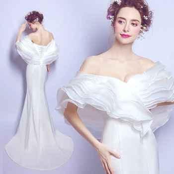 vestidos de noite Evening Dresses Beige robe soiree longue femme Off the Shoulder Satin Organza Sweetheart Mermaid Formal Dress