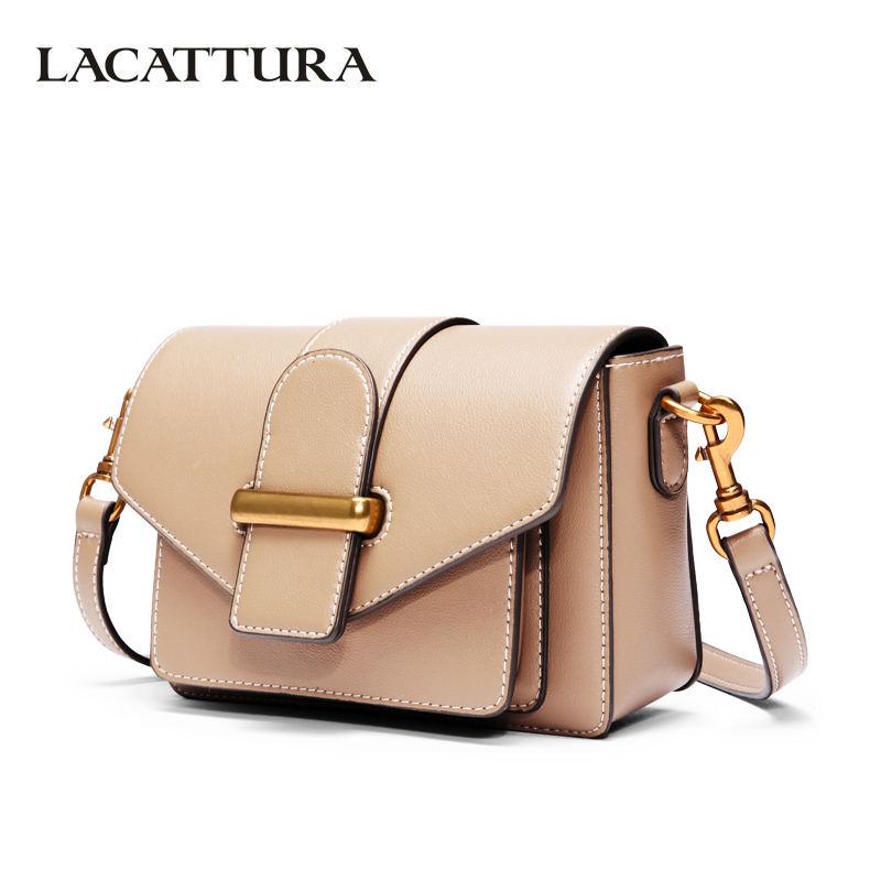 LACATTURA Women Messenger Mini Bag Crossbody for Lady Luxury Leather Handbag 2018 Fashion Shoulder bags Vintage Small Clutch lacattura small bag women messenger bags split leather handbag lady tassels chain shoulder bag crossbody for girls summer colors