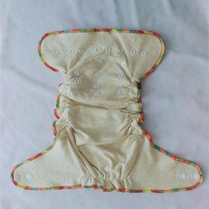 Image 3 - Fitted Cloth Diaper Overnight Diaper with 2 Cotton Hemp Inserts, One Size with Snap Buttons fit to 3 13kg babys no pul