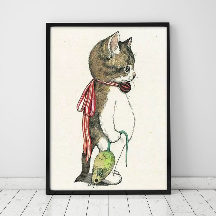 Nordic Waterproof Art Cartoon Cat Combination Kidsroom Prints And Posters Decorative Pictures For Living Room Unframed
