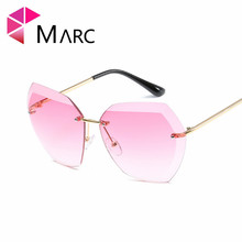 MARC UV400 WOMEN MEN Sunglasses Oculos Fashion Alloy Gradient Gray Shield Scrub Resin Eyeglass Trendy Pink Clear eyewear Square