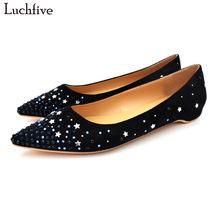 7db4d406e Luchfive concisos calçados casuais mulheres bling bling lantejoulas cristal studded  sapato de bico fino flock glitter glitters m.