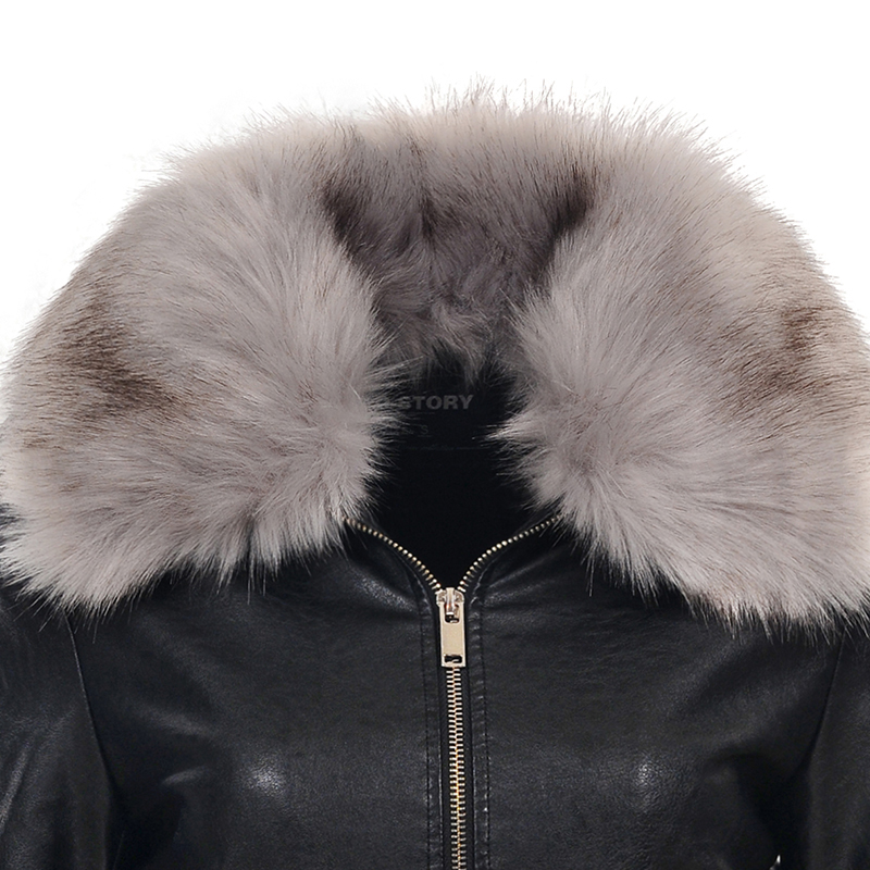 Cuir Survêtement High Faux En De Noir story Black Hiver Col Mode Manteau Street 5067 Fourrure Femelle Glo Pu Femmes Veste 2018 q6wvpwU