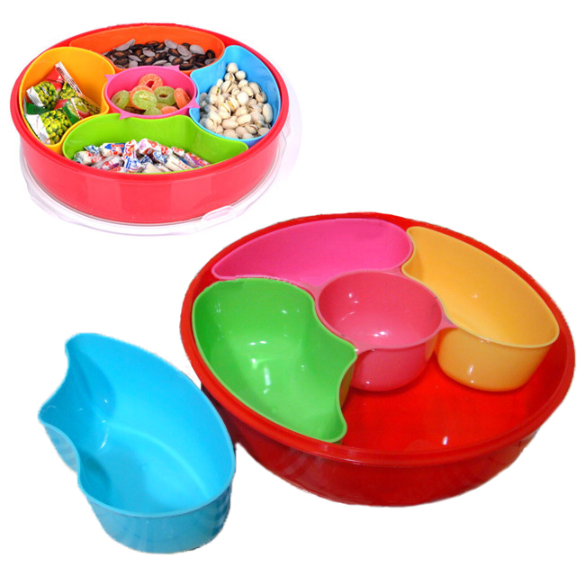 New 5 Compartment Candy Storage Box Case Plastic Sweets Peanut