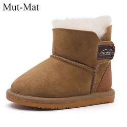 2018 детские зимние сапоги из натуральной кожи с овечьим мехом внутри теплая нескользящая обувь для малышей, детские сапоги