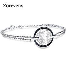 ZORCVENS White Black Ceramic Bracelet Stainless Steel Hollow Life Tree Flake Ceramic Circle Handmade Charm Bracelet For Women