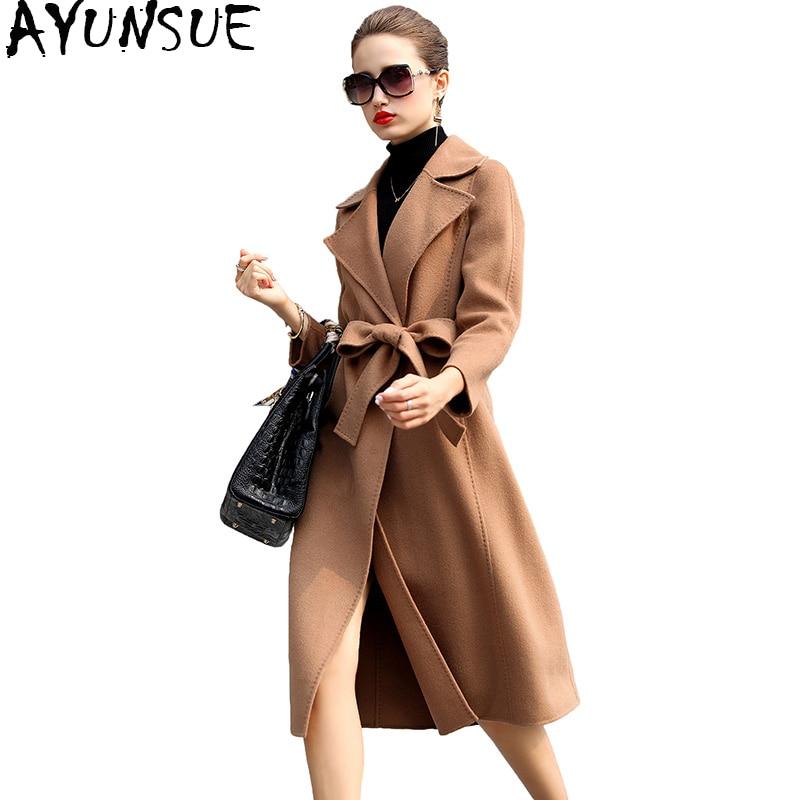 AYUNSUE 2018 Européenne Laine Manteau Femelle Long Hiver Manteau Femmes Avec Ceinture Double-side Cachemire Manteaux Femmes de Printemps vestes YQ1335