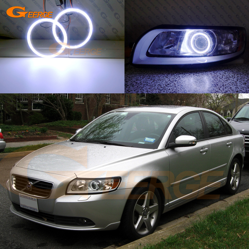 For Volvo S40 V50 2008 2009 2010 2011 HALOGEN headlight Excellent angel eyes Ultra bright illumination COB led angel eyes kit 2pcs purple blue red green led demon eyes for bixenon projector lens hella5 q5 2 5inch and 3 0inch headlight angel devil demon