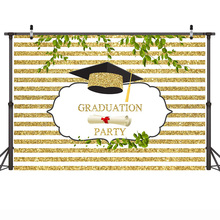Photography Backdrop Graduation Theme Party Background Golden and White Stripes Summer Holiday Backdrops for Children