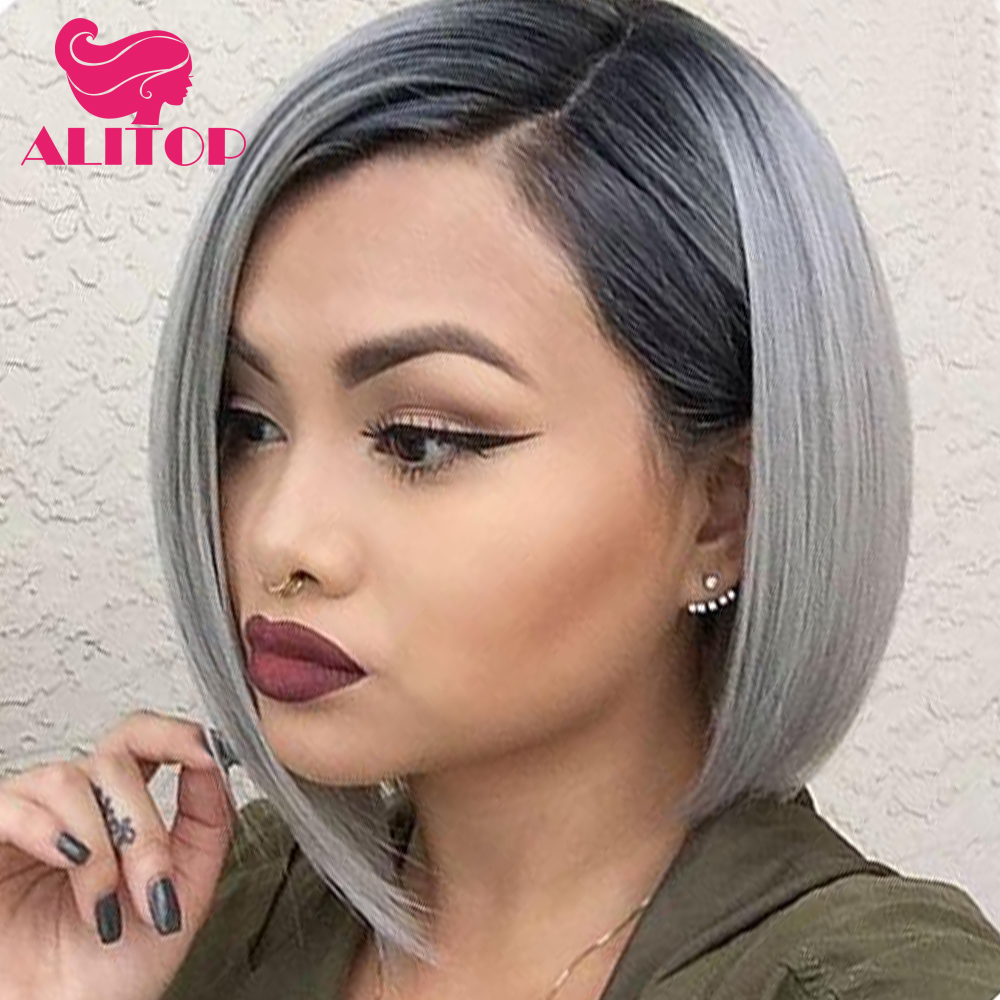 ALITOP Hair Brazilian Human Hair Short Lace Front Wig 1B Grey Remy Hair Straight Bob Wig Pre Plucked Hairline Baby Hair Full End