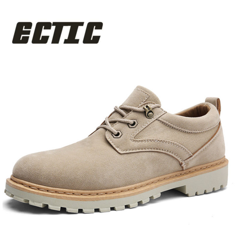 ECTIC 2018 Comfortable Men's casual Genuine leather shoes lightweight Work shoes rubber outsole flat shoes sneskers AA-032