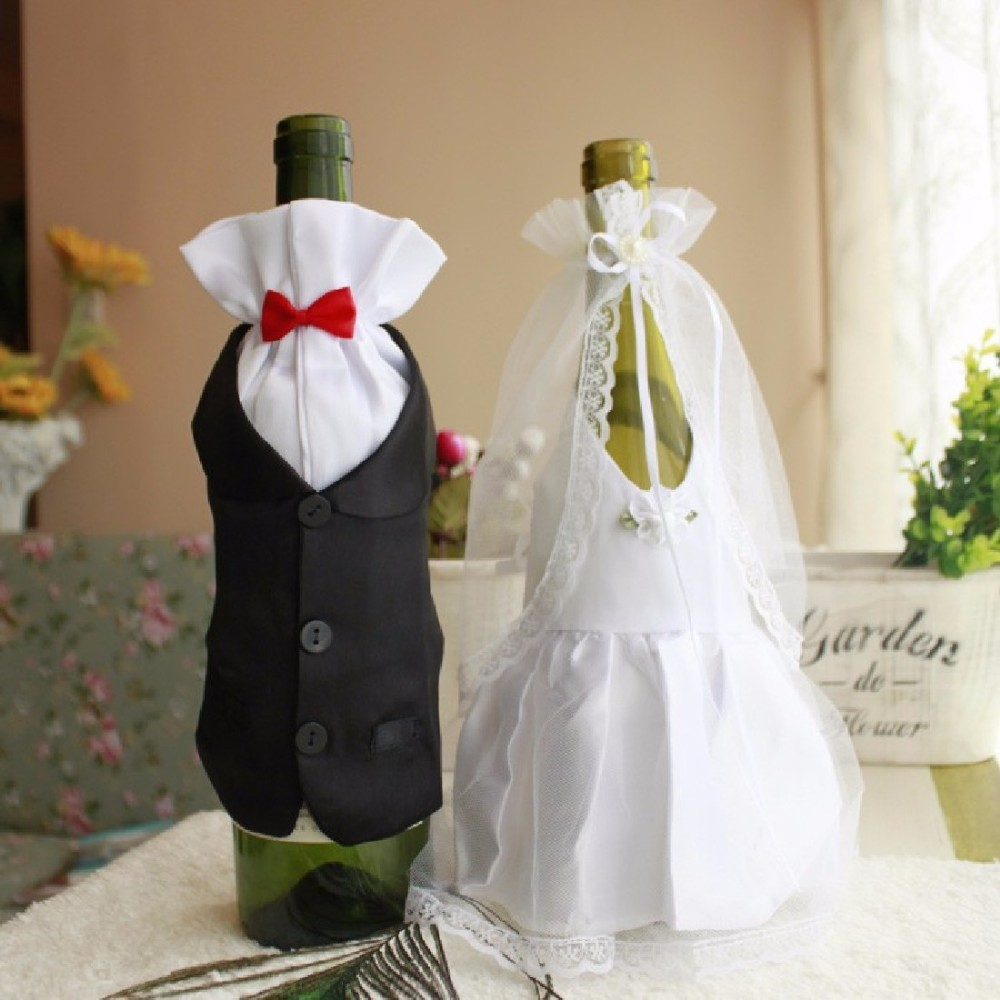 2 pcs/lot Wedding Decorations Bride And Groom Dress Wine Glass Champagne Bottle Decoration Wedding Patry Cover Supplies