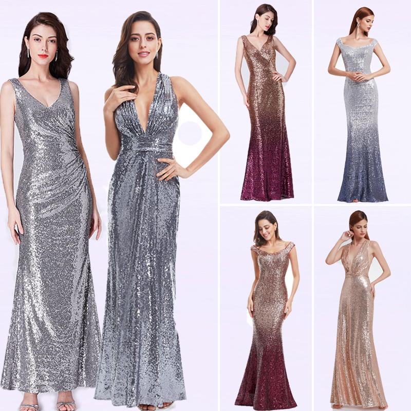 Prom     Dresses   Long Sparkle Ever Pretty 2019 New V-Neck Women Elegant XXYG90170PEC Sequin A-line Ladies Formal Party Gown   Dresses