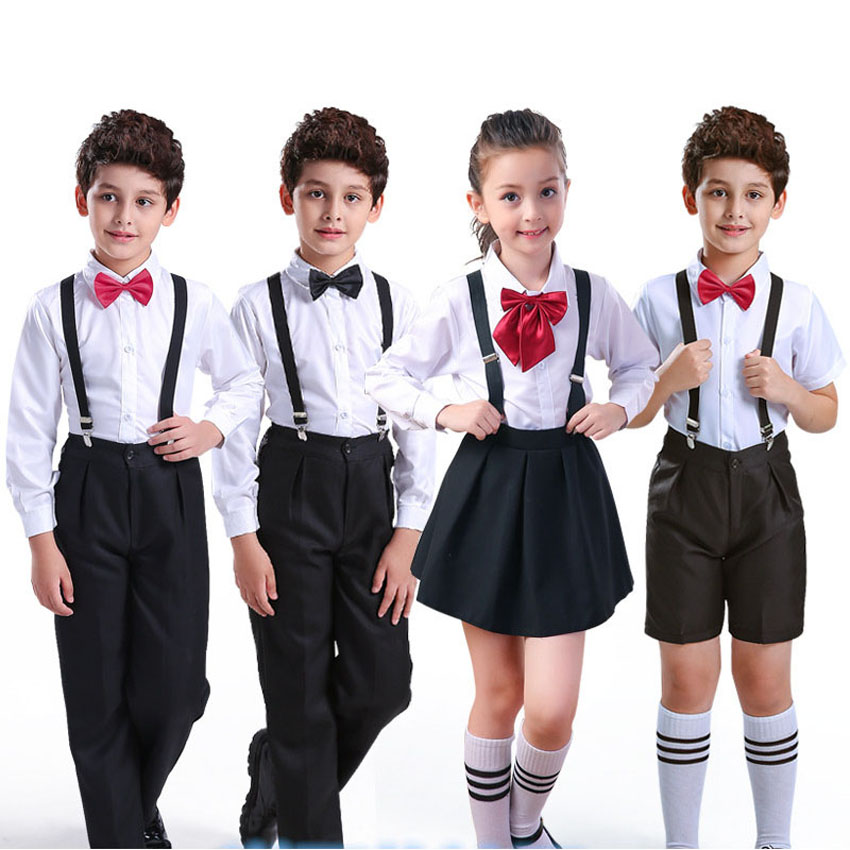 Children Boys Girls School Uniform Church Choir Concert Costumes Tops+pants+strap+tie Clothing Set Kids Stage Performance Wear