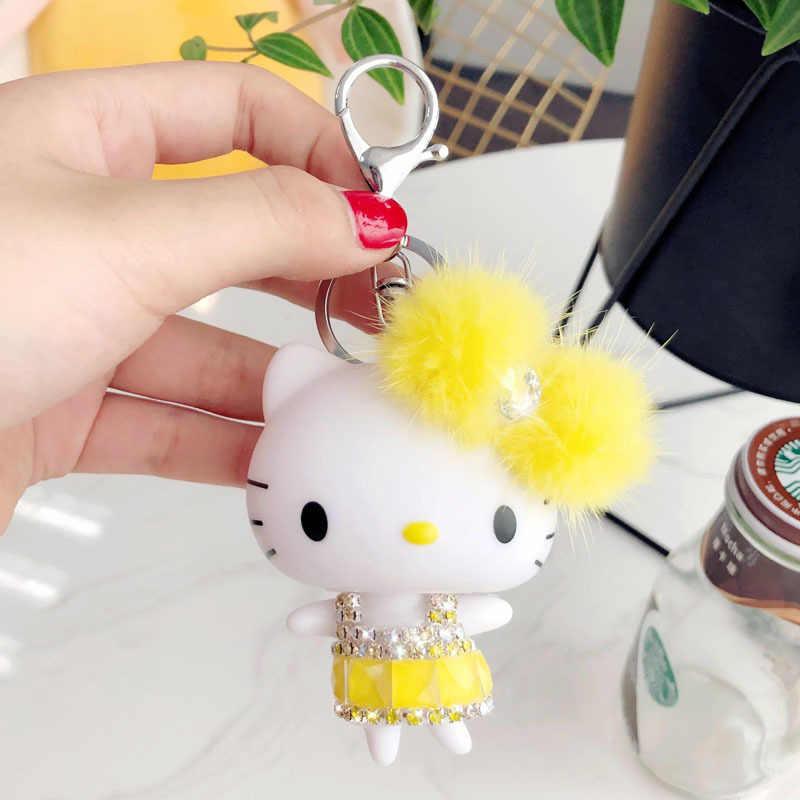 a51ae99f3 ... Cartoon Rhinestone Crystal Hello Kitty Keychain KT Mink Fur Pom Pom Key  Ring Women Purse Car ...