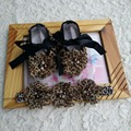 Leopard Baby Moccasins Headbands Set,Diamond Baby Boots,Sapato Bebe,Accessories for Hair,soft sole baby shoe