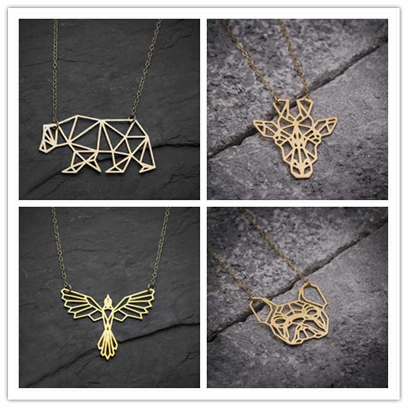 yiustar Origami Bear Chain Pendant Necklace Choker Women Simple Phoenix necklaces jewelry giraffe woman animal necklace