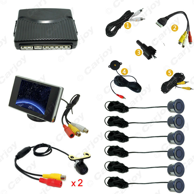 Car 6 Sensors Front&Rear Dual View Parking Sensor Backup Radar System +Monitor+16.5mm Camera Black Silver Gray Wihte #CA4446