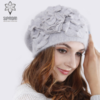 Supandan Knitted Hand Made Beret Hat Scarf Set Women Winter Sets Flower Knitted Hat Ear Protect