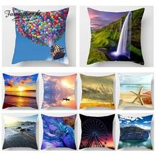 Fuwatacchi Ocean Beach Scenic Print Cushion Cover River Sunset Flower Throw Pillow Home Decor Sofa Car Decorative Pillowcase