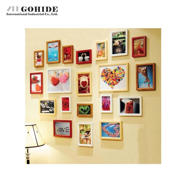 Duh Home Decoration Wedding Gift Wood Frame Heart Combination Photos Wall 20pcs Set Box Picture