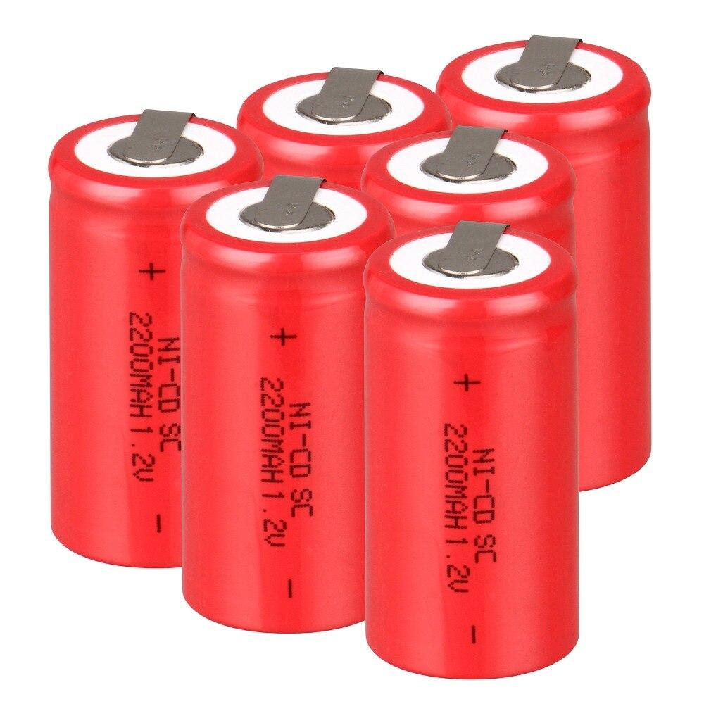 High quality ! 16 PCS Sub C SC battery rechargeable battery 1.2V 2200mAh Ni-Cd Ni-Cd Battery Batteries -Red Color 4.25*2.2cm