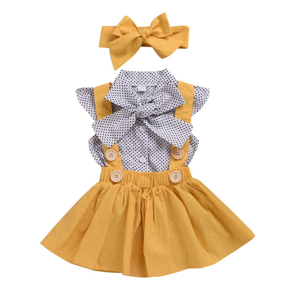 Newborn Kid Baby Girl Clothes Set Dot Bow Short Sleeve Shirt+Yellow Sling Skirt Bebe Children Clothing SetNewborn Kid Baby Girl Clothes Set Dot Bow Short Sleeve Shirt+Yellow Sling Skirt Bebe Children Clothing Set