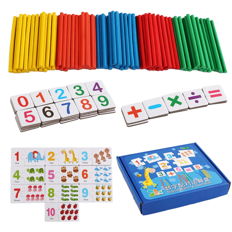 US $12 03 53% OFF|kids Mathematical games Digital Match & Operation 0 9  Numbers puzzle+5 colors of the spillikin/Arithmetic stick 100PCS baby  toy-in
