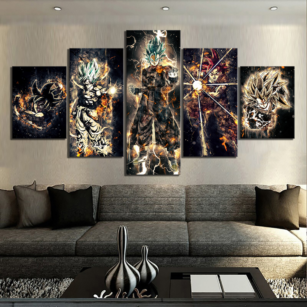 5 Piece Cartoon Artwork Paintings Dragon Ball Poster Animation Art Canvas Paintings Abstract Wall Art for Home Decor 1