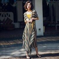 Summer Simplee Bohemia beach mix dress Elegant Women Vestidos Irregular dress