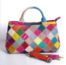 цена на Women Shoulder Handbag Bags Plaid Genuine  Leather 2019 Casual Totes Bags Brand Designer Panelled Travel Messenger Bag Female