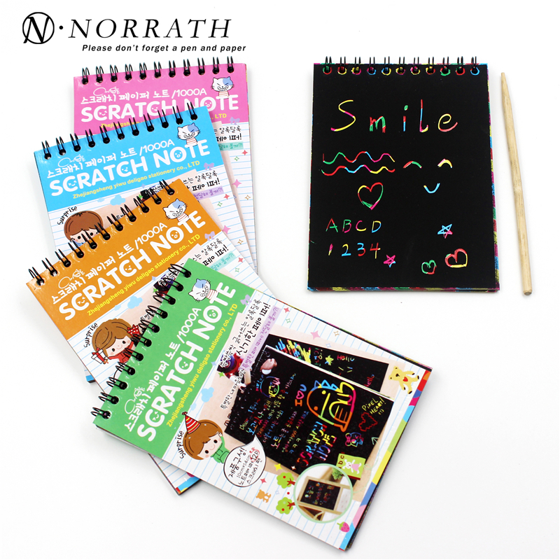 Creative DIY Scratch Note Black Card Draw Draw Notes för Kids Toy Notebook Child Gift School Supplies